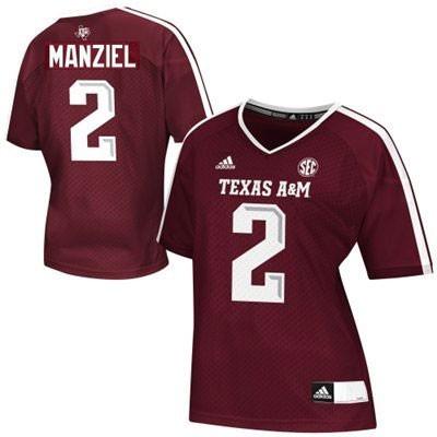 Texas A&M Aggies #2 Johnny Manziel Maroon Womens Jersey Adidas