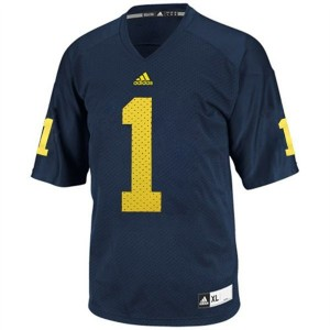 Michigan Wolverines Braylon Edwards #1 Blue Men Stitch Jersey Adidas