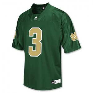 Notre Dame Fighting Irish Joe Montana #3 Green Men Stitch Jersey Adidas
