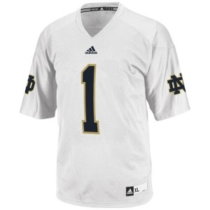 Men Notre Dame Fighting Irish #1 Louis Nix III White Adidas Stitch Jersey