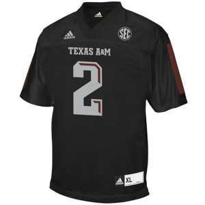 Texas A&M Aggies Johnny Manziel #2 Black Men Stitch Jersey Adidas