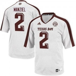 Men Texas A&M Aggies #2 Johnny Manziel White Adidas Stitch Jersey