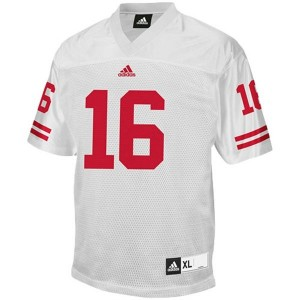 Men Wisconsin Badgers #16 Russell Wilson White Adidas Stitch Jersey