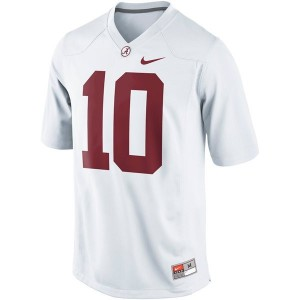Men Alabama Crimson Tide #10 A.J. McCarron White Nike Limited Stitch Jersey