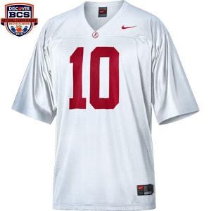Youth(Kids) Alabama Crimson Tide #10 A.J. McCarron White BCS Bowl Patch Nike Jersey