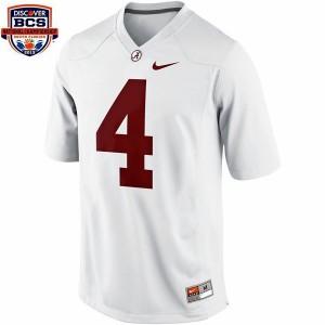 Men Alabama Crimson Tide #4 T.J. Yeldon White BCS Bowl Patch Nike Limited Stitch Jersey