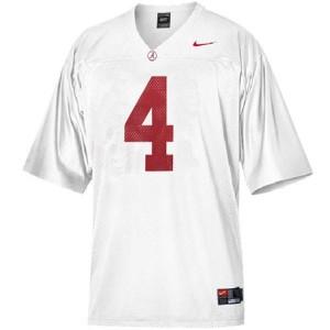 Men Alabama Crimson Tide #4 T.J. Yeldon White Nike Stitch Jersey