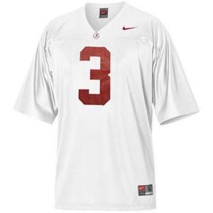Men Alabama Crimson Tide #3 Trent Richardson White Nike Stitch Jersey