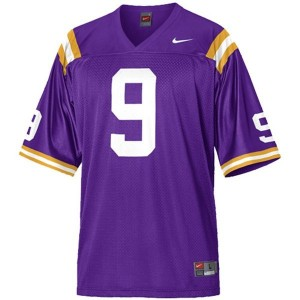 Nike LSU Tigers #9 Jordan Jefferson Men Stitch Jersey - Purple