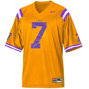 LSU Tigers Tyrann Mathieu Honey Badger #7 Gold Men Stitch Jersey Nike