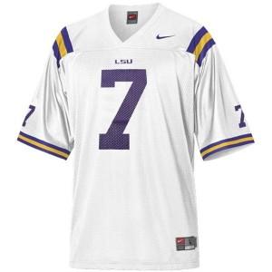 Men LSU Tigers #7 Tyrann Mathieu Honey Badger White Nike Stitch Jersey