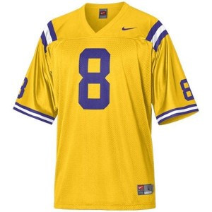 LSU Tigers Zach Mettenberger #8 Gold Men Stitch Jersey Nike