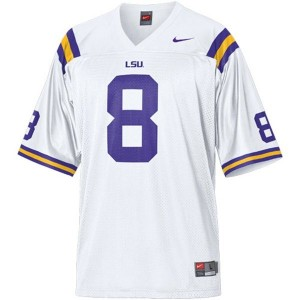Men LSU Tigers #8 Zach Mettenberger White Nike Stitch Jersey