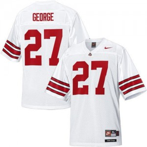 Men Ohio State Buckeyes #27 Eddie George White Nike Stitch Jersey
