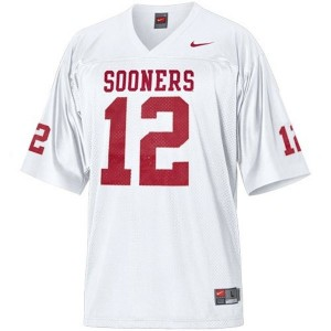 Youth(Kids) Oklahoma Sooners #12 Landry Jones White Nike Jersey