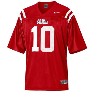 Nike Ole Miss Rebels #10 Eli Manning Men Stitch Jersey - Red