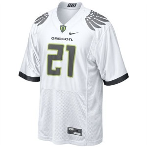 Men Oregon Ducks #21 LaMichael James White Nike Stitch Jersey