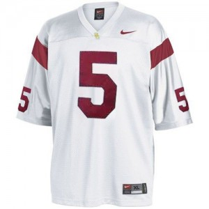 Men USC Trojans #5 Reggie Bush White Nike Stitch Jersey