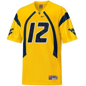 West Virginia Mountaineers Geno Smith #12 Gold Men Stitch Jersey Nike