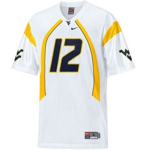 Youth(Kids) West Virginia Mountaineers #12 Geno Smith White Nike Jersey