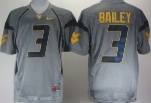 West Virginia Mountaineers Stedman Bailey #3 Gray Men Stitch Jersey Nike