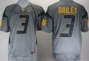 West Virginia Mountaineers Stedman Bailey #3 Gray Youth(Kids) Jersey Nike