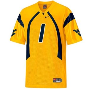 West Virginia Mountaineers Tavon Austin #1 Gold Men Stitch Jersey Nike