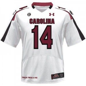 Youth(Kids) South Carolina Gamecocks #14 Connor Shaw White Under Armour Jersey