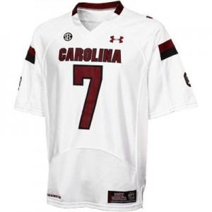 Men South Carolina Gamecocks #7 Jadeveon Clowney White Under Armour Stitch Jersey