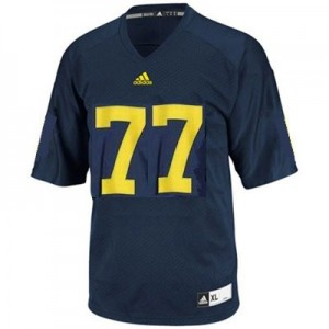 Michigan Wolverines Taylor Lewan #77 Blue Men Stitch Jersey Adidas