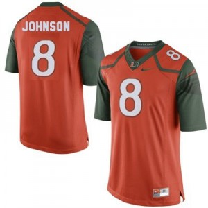 Miami Hurricanes Duke Johnson #8 Orange Men 2014 Stitch Jersey Nike
