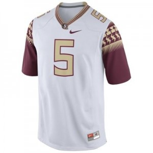 Men Florida State Seminoles (FSU) #5 Jameis Winston White 2014 Nike Stitch Jersey
