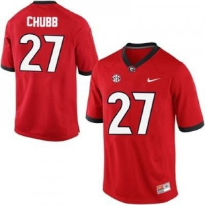 Men Georgia Bulldogs #27 Nick Chubb Stitch Jersey - Red