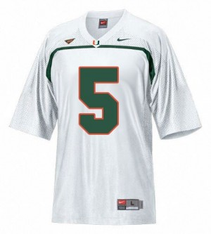 Men Miami Hurricanes #5 Andre Johnson White Nike Stitch Jersey