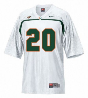 Men Miami Hurricanes #20 Ed Reed White Nike Stitch Jersey