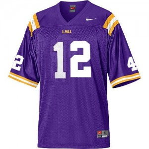 Nike LSU Tigers #12 Jarrett Lee Men Stitch Jersey - Purple