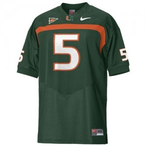 Miami Hurricanes Andre Johnson #5 Green Men Stitch Jersey Nike