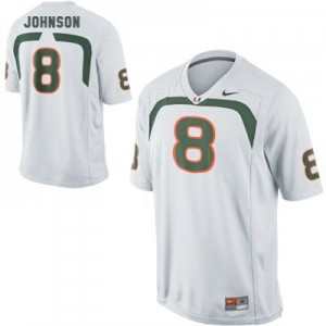 Men Miami Hurricanes #8 Duke Johnson White Nike Stitch Jersey