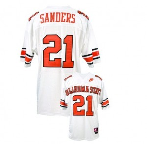 Men Oklahoma State Cowboys #21 Barry Sanders White Nike Stitch Jersey
