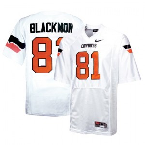 Men Oklahoma State Cowboys #81 Justin Blackmon White Nike Stitch Jersey