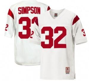 Men USC Trojans #32 O.J. Simpson White Nike Stitch Jersey