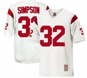 Youth(Kids) USC Trojans #32 O.J. Simpson White Nike Jersey