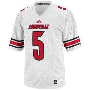Men Louisville Cardinals #5 Teddy Bridgewater White Adidas Stitch Jersey