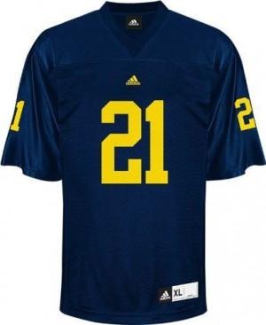 Michigan Wolverines Desmond Howard #21 Blue Men Stitch Jersey Adidas