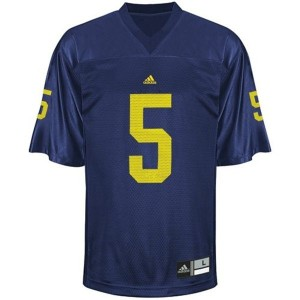 Michigan Wolverines John Wangler #5 Blue Men Stitch Jersey Adidas