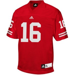 Adidas Wisconsin Badgers #16 Russell Wilson Men Stitch Jersey - Red