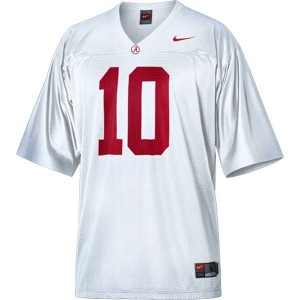 Men Alabama Crimson Tide #10 A.J. McCarron White Nike Stitch Jersey