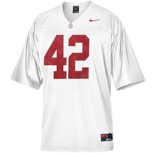 Men Alabama Crimson Tide #42 Eddie Lacy White Nike Stitch Jersey
