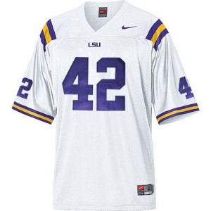 Men LSU Tigers #42 Michael Ford White Nike Stitch Jersey