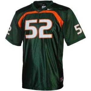 Miami Hurricanes Ray Lewis #52 Green Men Stitch Jersey Nike